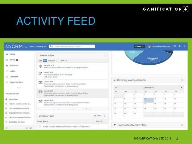 ACTIVITY FEED © GAMIFICATION+ LTD 2015 21