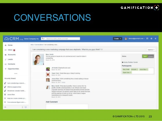 CONVERSATIONS © GAMIFICATION+ LTD 2015 23