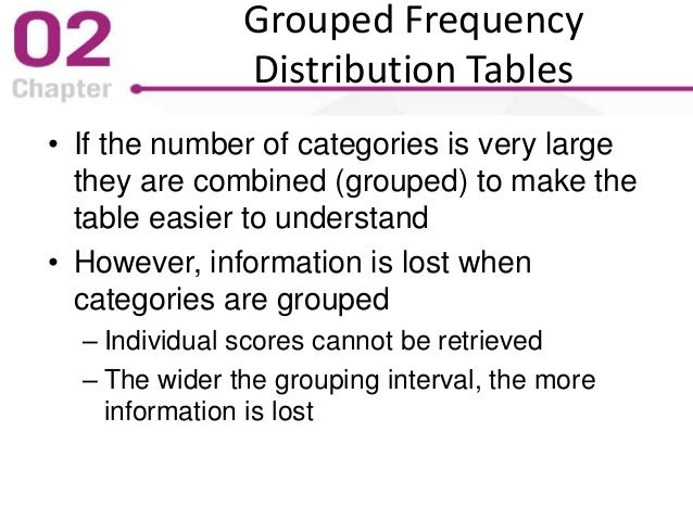 Grouped Frequency Distribution Tables • If the number of categories is very large they are combined (grouped) to make the ...