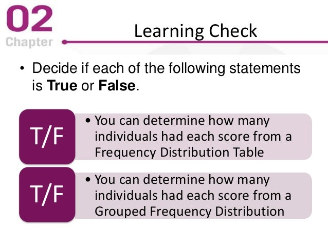 Learning Check • Decide if each of the following statements is True or False. • You can determine how many individuals had...