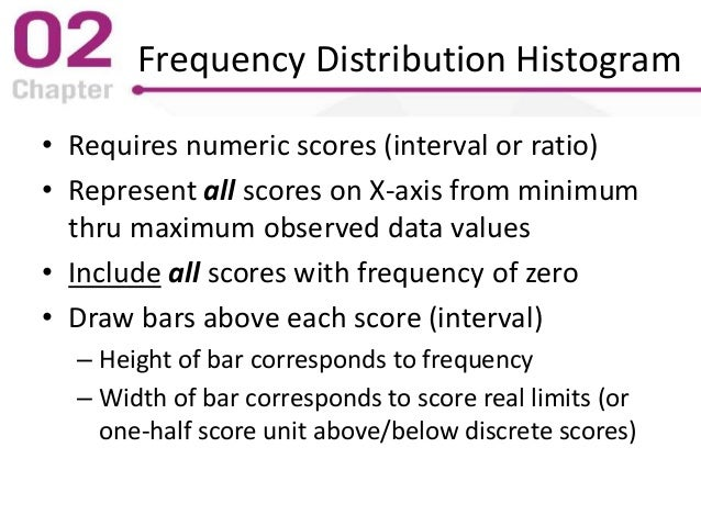 Frequency Distribution Histogram • Requires numeric scores (interval or ratio) • Represent all scores on X-axis from minim...