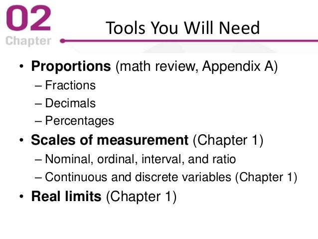 Tools You Will Need • Proportions (math review, Appendix A) – Fractions – Decimals – Percentages • Scales of measurement (...