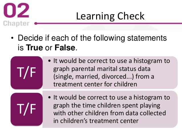 Learning Check • Decide if each of the following statements is True or False. • It would be correct to use a histogram to ...