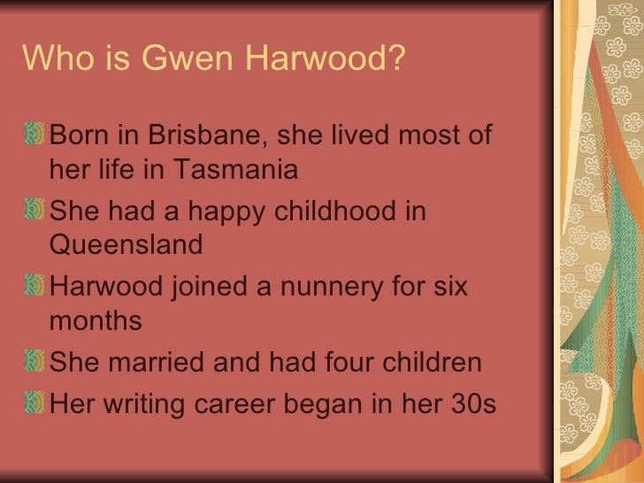 gwen harwood essay violets Gwen hardwood has a tendency to write poetry that is significant in  gwen harwood critical study  violets the 2 poems that i have chosen to discuss in this speech.