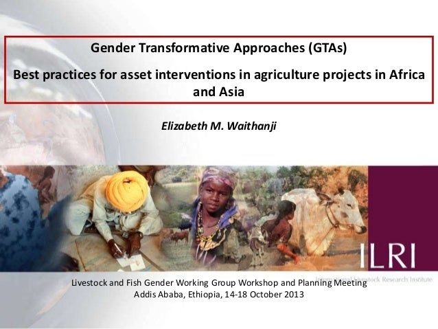 Gender Transformative Approaches (GTAs) Best practices for asset interventions in agriculture projects in Africa and Asia ...