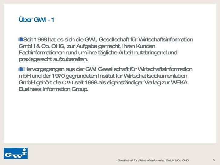 Gwi Gesellschaft für Wirtschaftsinformation GmbH & Co. OHG Slide 3