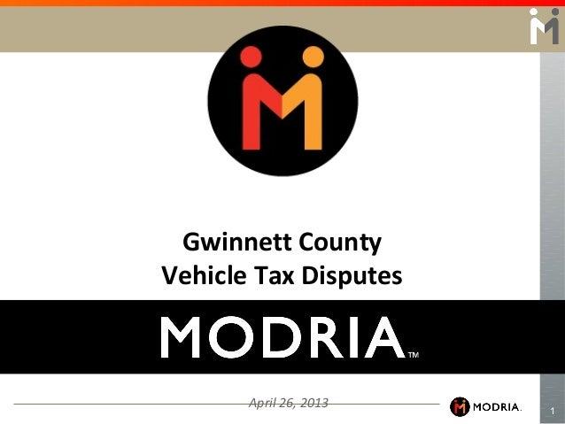 1April 26, 2013Gwinnett CountyVehicle Tax Disputes