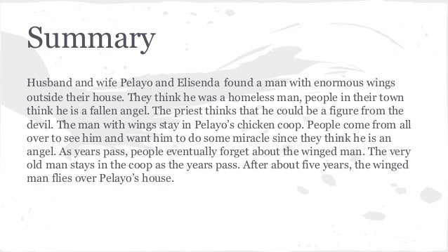 Notable Essay On A Very Old Man With Enormous Wings started