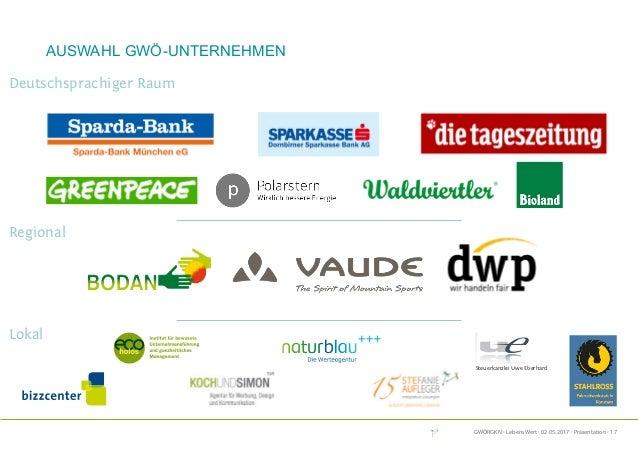 GWÖRGKN · LebensWert · 02.05.2017 · Präsentation · 17 Auswahl GWÖ-Unternehmen Steuerkanzlei Uwe Eberhard Lokal Regional De...