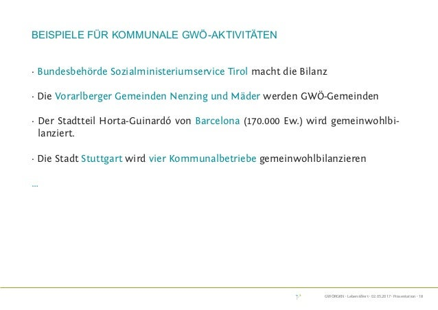 GWÖRGKN · LebensWert · 02.05.2017 · Präsentation · 18 Beispiele für Kommunale GWÖ-Aktivitäten · Bundesbehörde Sozialminist...