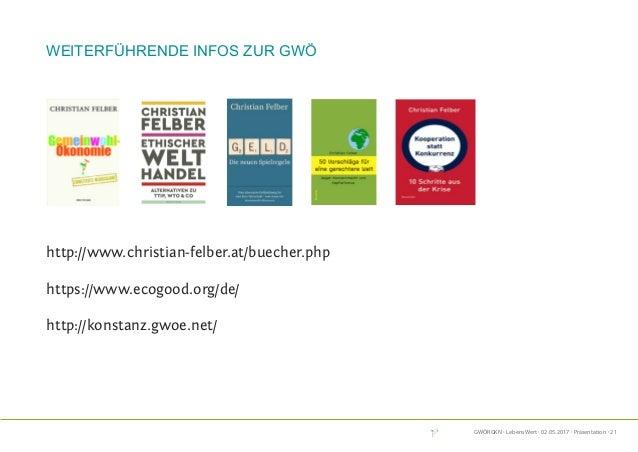 GWÖRGKN · LebensWert · 02.05.2017 · Präsentation · 21 weiterführende Infos zur GWÖ http://www.christian-felber.at/buecher....