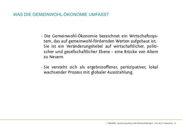 GWÖRGKN · Impulsvortrag Rotary Club Pfullendorf-Messkirch · 14.01.2019 · Präsentation · 14 · Die Gemeinwohl-Ökonomie bezei...