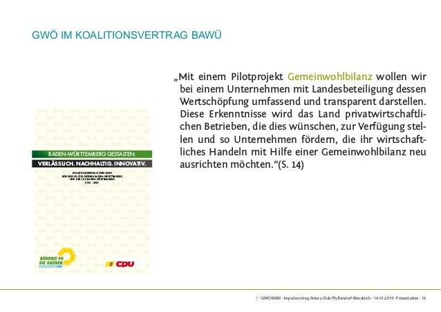 GWÖRGKN · Impulsvortrag Rotary Club Pfullendorf-Messkirch · 14.01.2019 · Präsentation · 16 GWÖ im Koalitionsvertrag BaWü K...