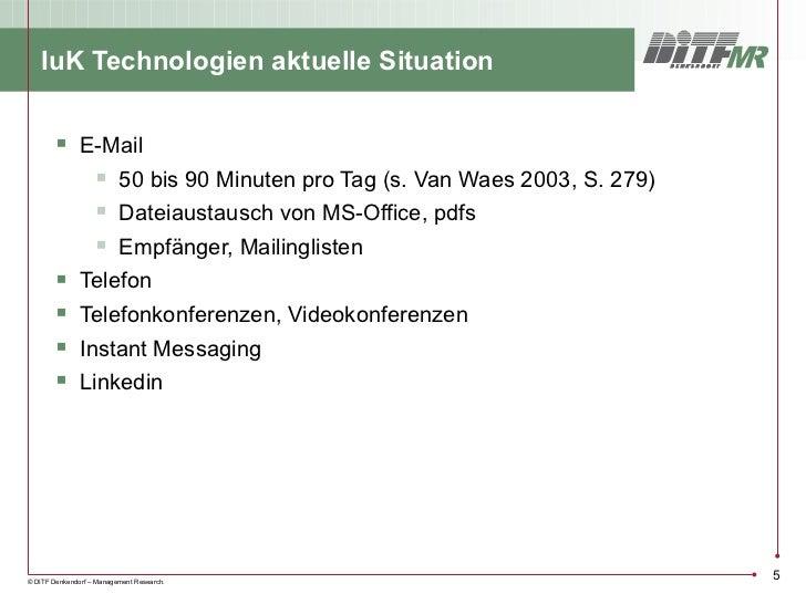 IuK Technologien aktuelle Situation         E-Mail             50 bis 90 Minuten pro Tag (s. Van Waes 2003, S. 279)     ...