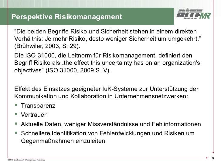 """Perspektive Risikomanagement       """"Die beiden Begriffe Risiko und Sicherheit stehen in einem direkten       Verhältnis: J..."""