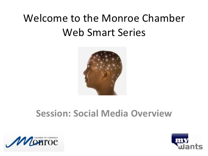 Welcome to the Monroe Chamber Web Smart Series Session: Social Media Overview