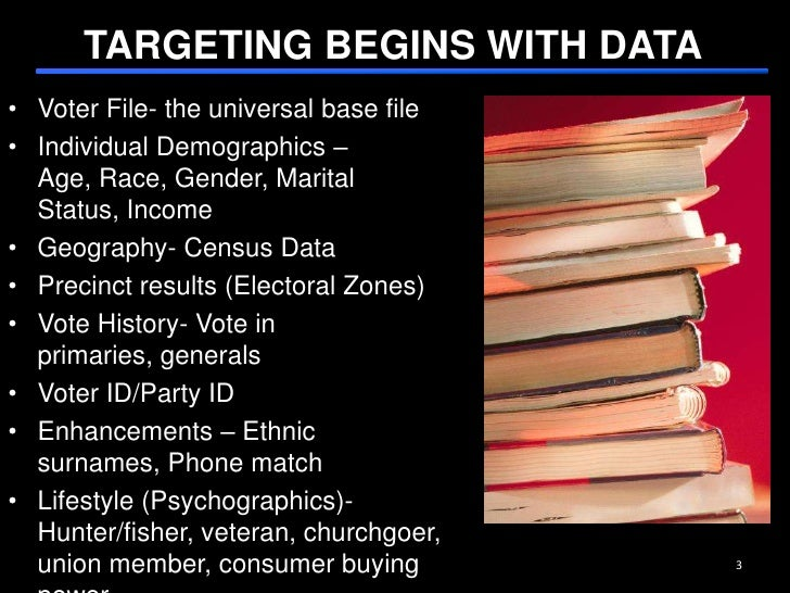 TARGETING BEGINS WITH DATA<br />3<br />Voter File- the universal base file<br />Individual Demographics – Age, Race, Gende...