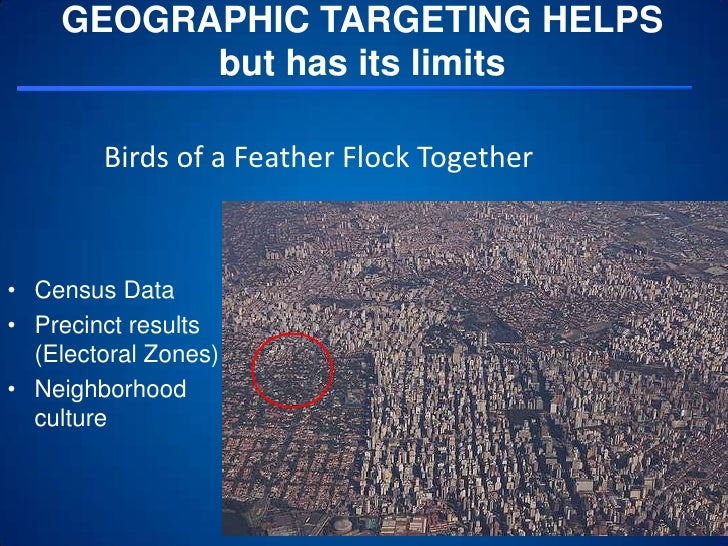 GEOGRAPHIC TARGETING HELPSbut has its limits<br />4<br />Birds of a Feather Flock Together<br />Census Data<br />Precinct ...