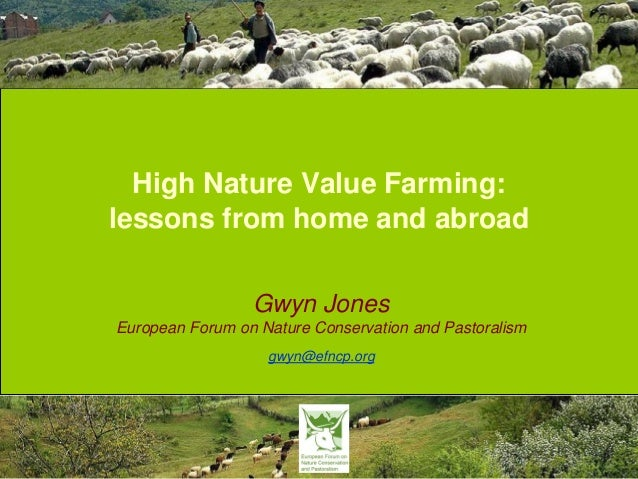 High Nature Value Farming: lessons from home and abroad Gwyn Jones European Forum on Nature Conservation and Pastoralism g...