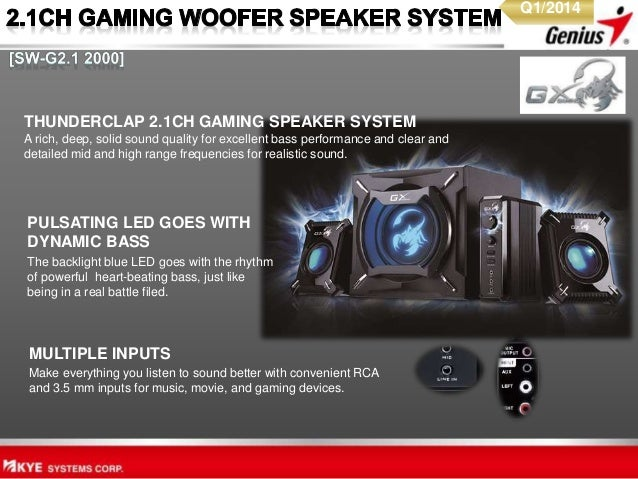 THUNDERCLAP 2.1CH GAMING SPEAKER SYSTEM A rich, deep, solid sound quality for excellent bass performance and clear and det...