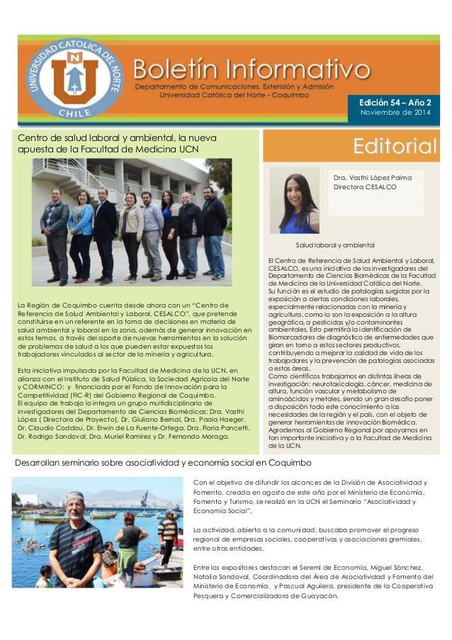 Centro de salud laboral y ambiental, la nueva  apuesta de la Facultad de Medicina UCN  La Región de Coquimbo cuenta desde ...