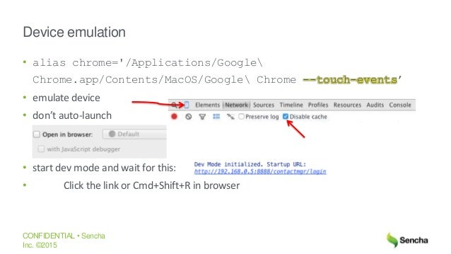 google chrome emulate touch events