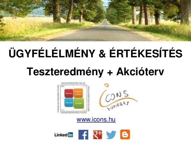 ÜGYFÉLÉLMÉNY & ÉRTÉKESÍTÉS Teszteredmény + Akcióterv www.icons.hu