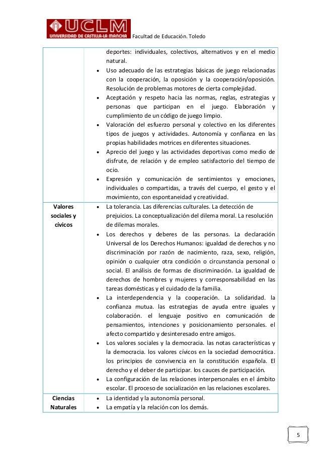Facultad de Educación. Toledo 5 deportes: individuales, colectivos, alternativos y en el medio natural.  Uso adecuado de ...
