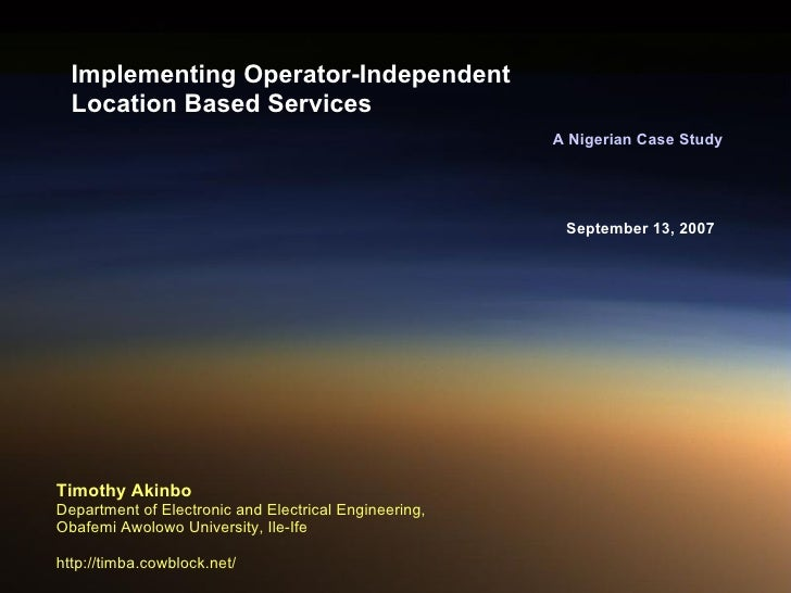 Implementing Operator-Independent Location Based Services