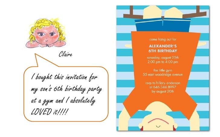 6 - Gymnastics Birthday Party Invitations