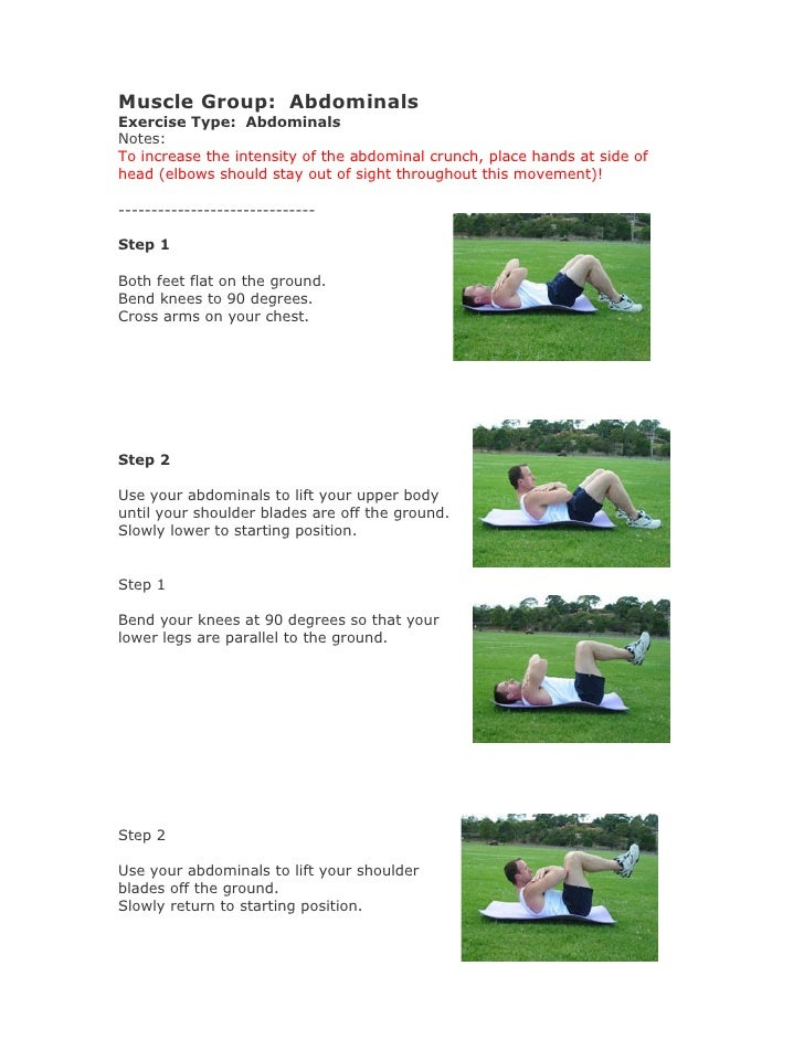 Muscle Group: Abdominals Exercise Type: Abdominals Notes: To increase the intensity of the abdominal crunch, place hands a...