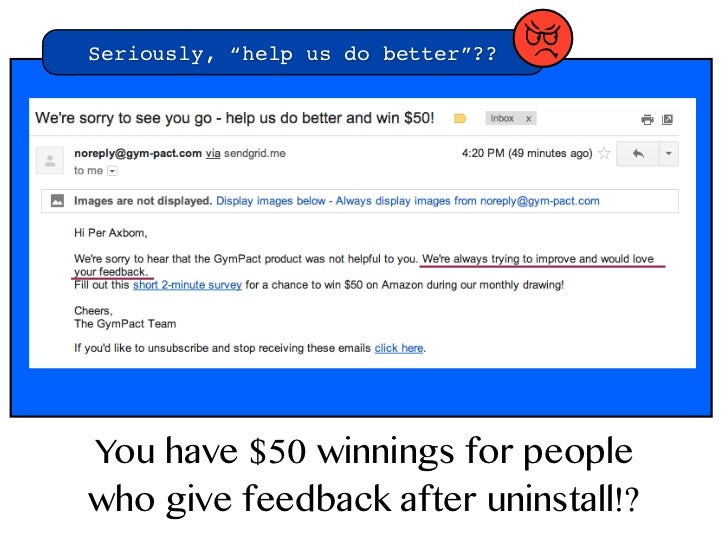 """Seriously, """"help us do better""""??   TYou have $50 winnings for peoplewho give feedback after uninstall!?"""