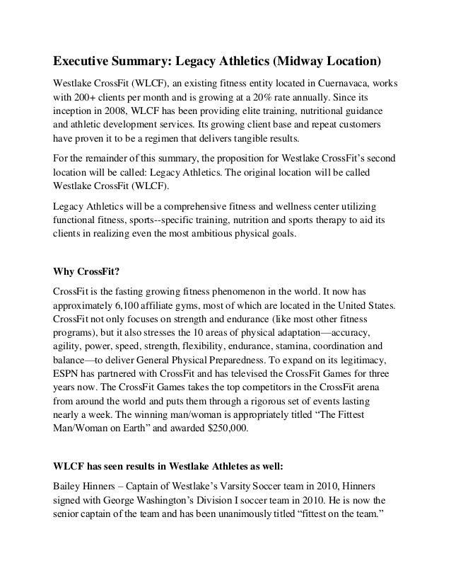 Executive Summary: Legacy Athletics (Midway Location) Westlake CrossFit  (WLCF), ...