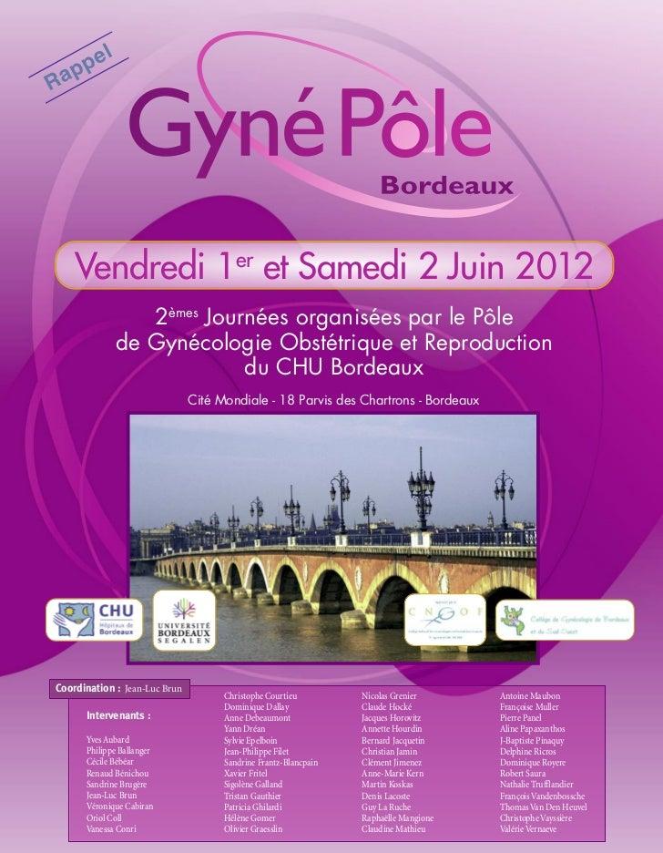 e   l     ppRa     Vendredi 1er et Samedi 2 Juin 2012                   2èmes Journées organisées par le Pôle             ...