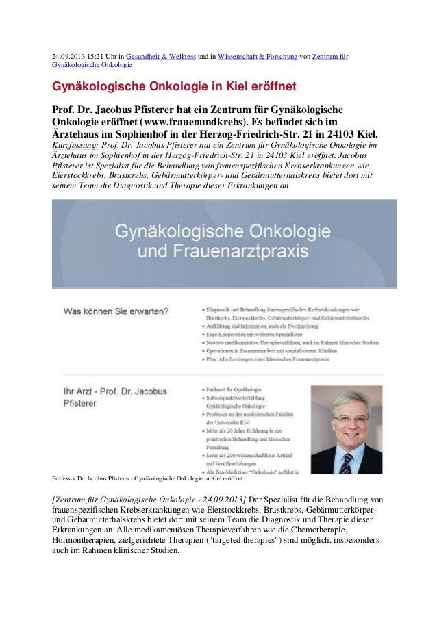 24.09.2013 15:21 Uhr in Gesundheit & Wellness und in Wissenschaft & Forschung von Zentrum für Gynäkologische Onkologie Gyn...