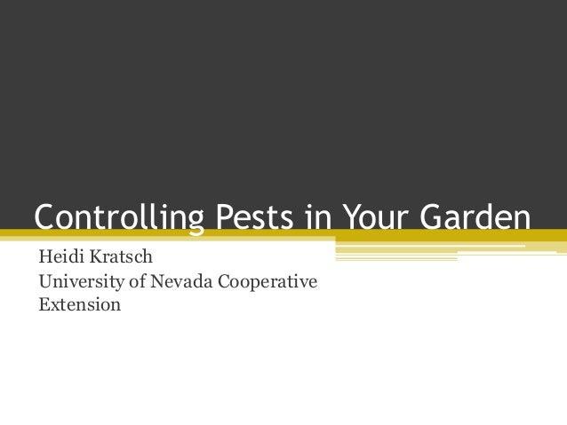 Controlling Pests in Your GardenHeidi KratschUniversity of Nevada CooperativeExtension