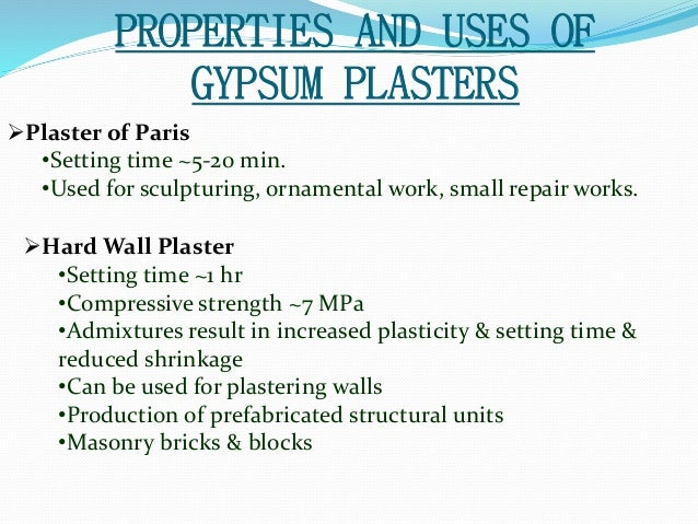 gypsum seting time Evaluation of setting time and heat of hydration in gypsum pastes intended for coating with the incorporation of waste gypsum a c de andrade 1,a.