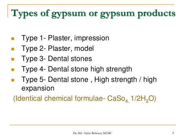 Types Of Gypsum ~ Gypsum products