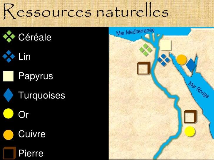 Ressources naturelles  Céréale                              Lin                      Papyrus  Turquoises  Or   ...