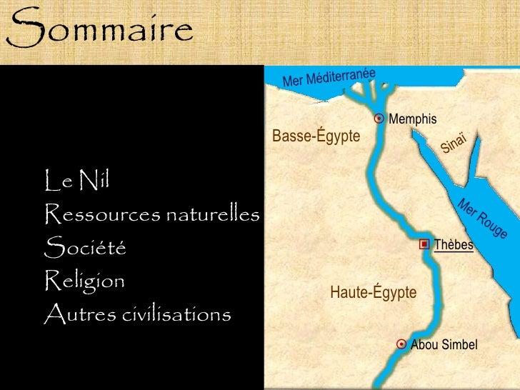 Sommaire                                          Memphis                          Basse-Égypte   Le Nil  Ressources natu...