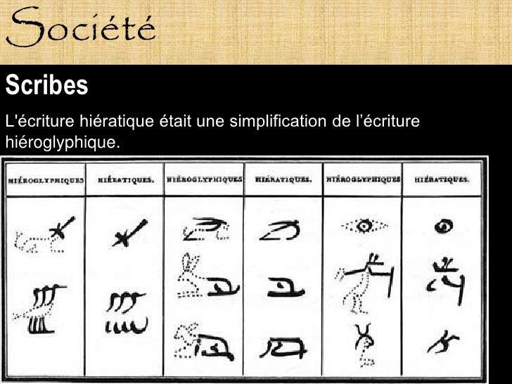 Société Scribes L'écriture hiératique était une simplification de l'écriture hiéroglyphique.