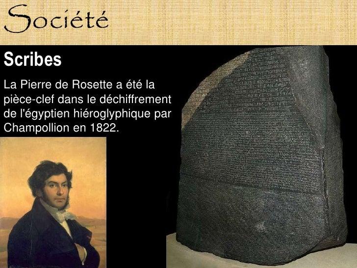 Société Scribes La Pierre de Rosette a été la pièce-clef dans le déchiffrement de l'égyptien hiéroglyphique par Champollio...