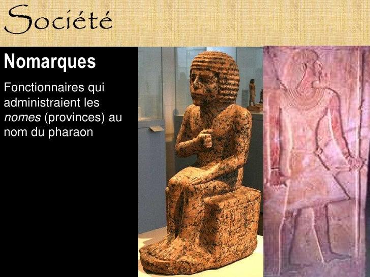 Société Nomarques Fonctionnaires qui administraient les nomes (provinces) au nom du pharaon