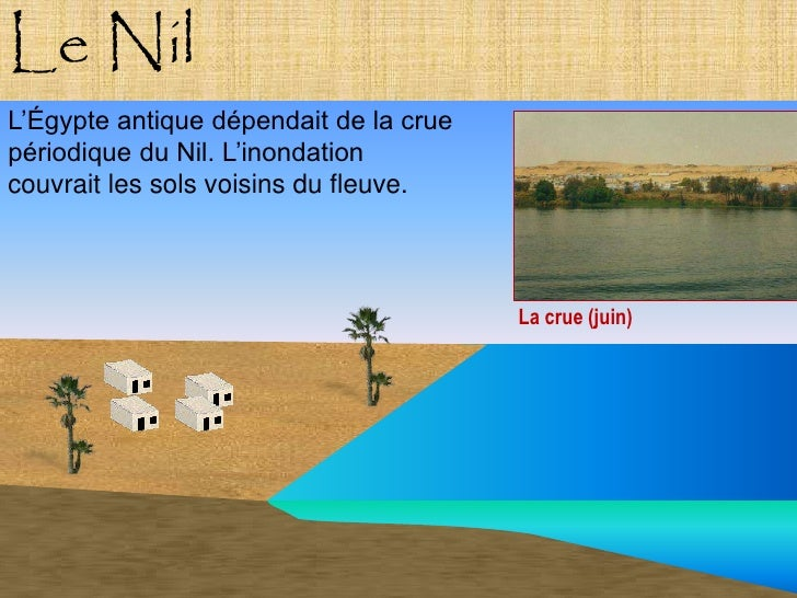 Le Nil L'Égypte antique dépendait de la crue périodique du Nil. L'inondation couvrait les sols voisins du fleuve.         ...