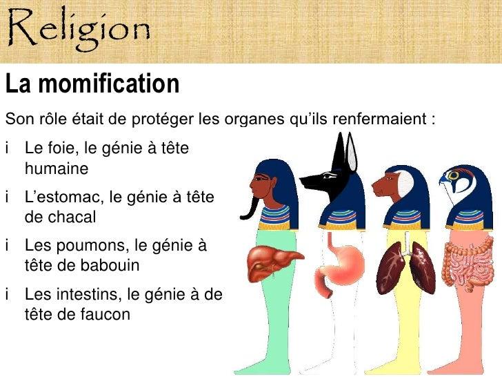 Religion La momification Son rôle était de protéger les organes qu'ils renfermaient : i Le foie, le génie à tête   humaine...