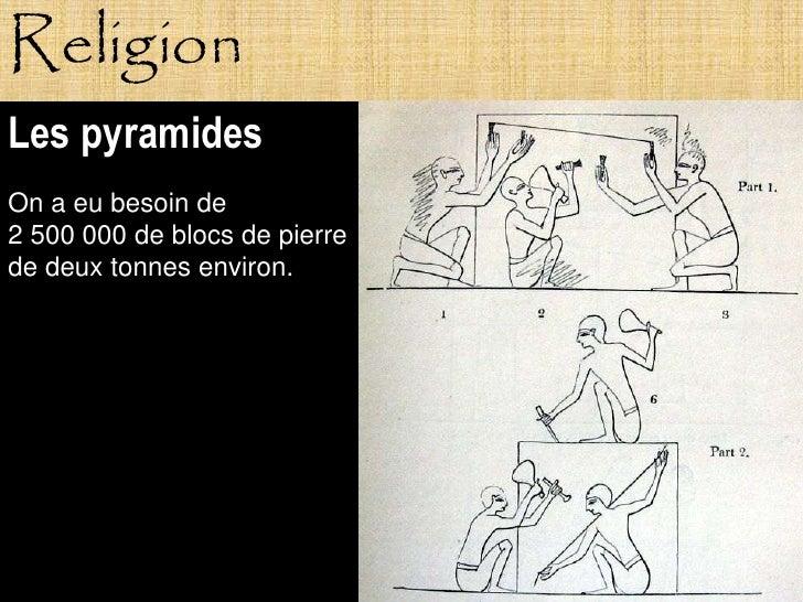 Religion Les pyramides On a eu besoin de 2 500 000 de blocs de pierre de deux tonnes environ.                Pagne