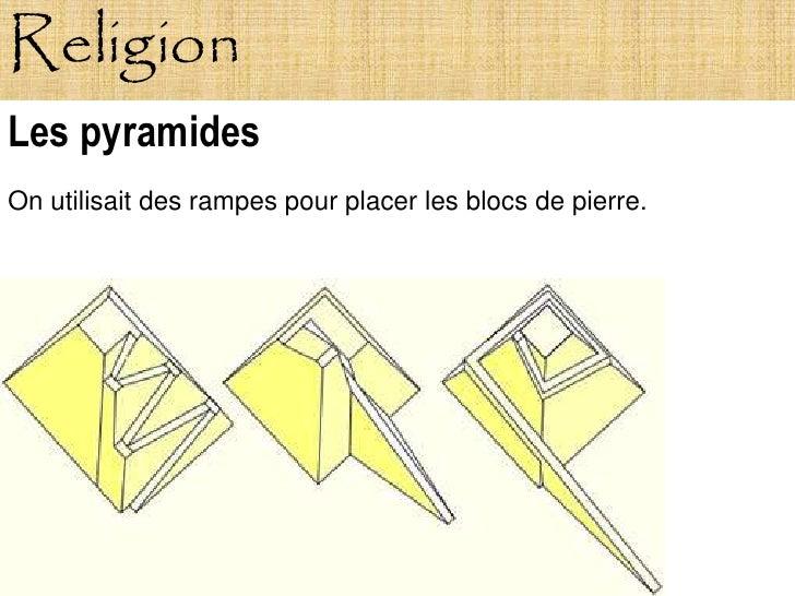Religion Les pyramides On utilisait des rampes pour placer les blocs de pierre.