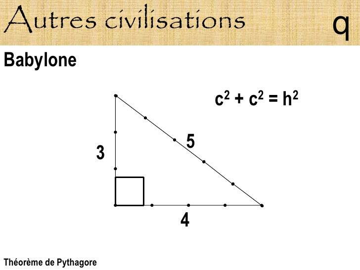 Autres civilisations                       q Babylone                             c2 + c2 = h2                          5 ...