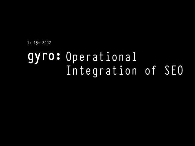 1: 15: 2012              Operational              Integration of SEO