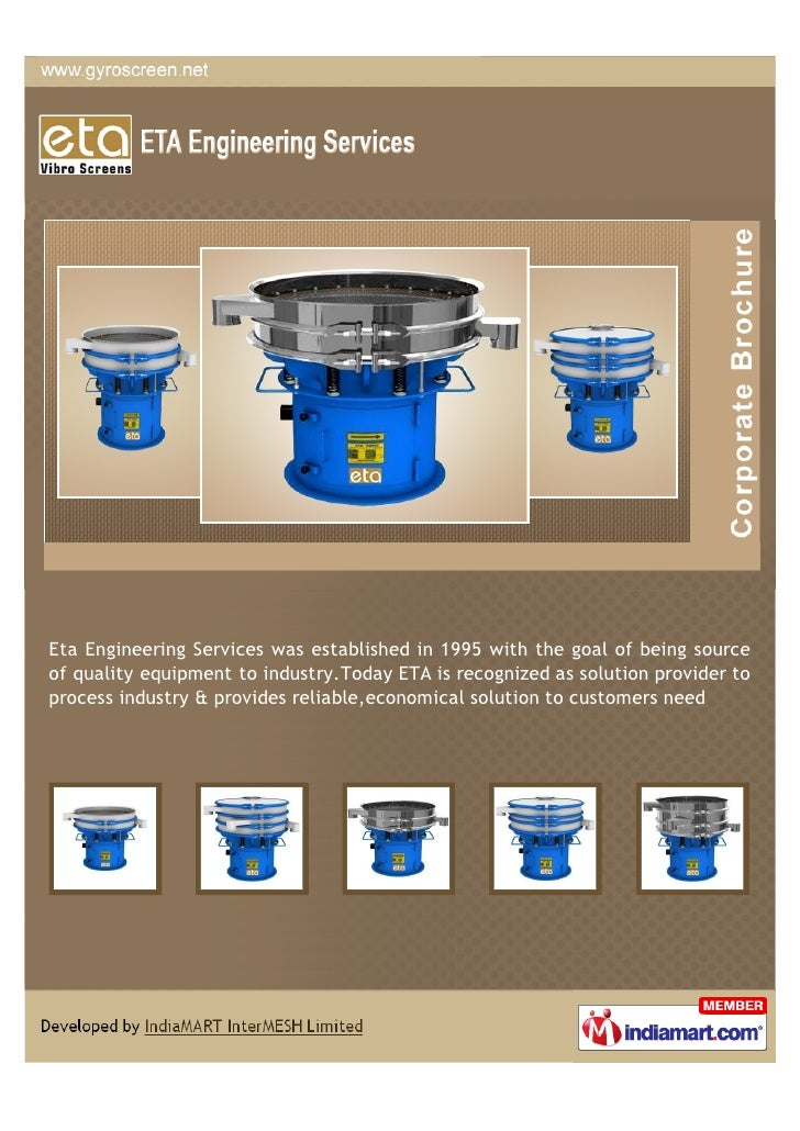 Eta Engineering Services was established in 1995 with the goal of being sourceof quality equipment to industry.Today ETA i...
